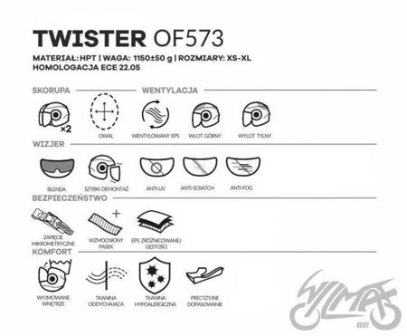 Kask otwarty LS2 OF573 TWISTER SOLID biały